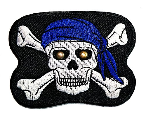 HHO Skull & Crossbones with Singlasses Large Cloth Patch DIY Applique Embroidered Sew Iron on Patch Skull logo Halloween Iron On Patch Sew Iron on Kids Craft Patch for Bags - Singlasses