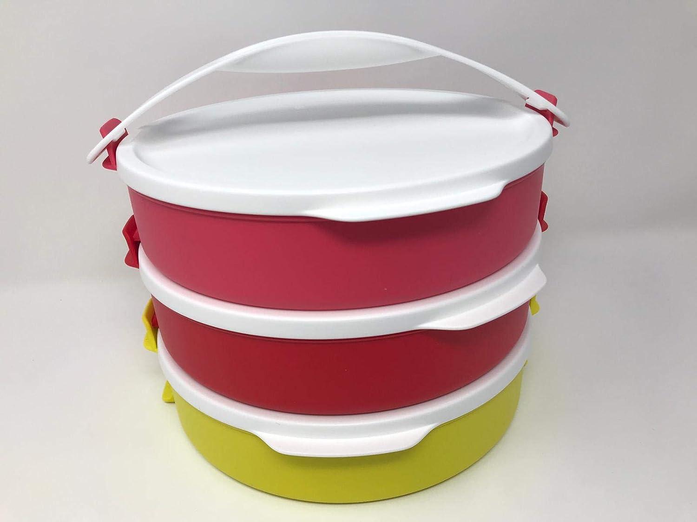Tupperware - Juego de 3 recipientes herméticos para Picnic con asa (3 x 880 ml, 880 ml, apilable, con Tapa), Color Rojo, Rosa y Amarillo: Amazon.es: Hogar
