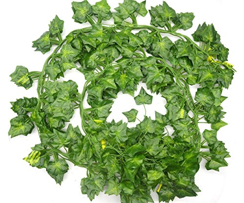 Costume Leaves For Ivy Poison (Lanldc Artificial Hanging Plant Silk English Ivy Vine Garland Arrangement Faux Fake Flower Green Leaves Wreath Home Kitchen Garden Decor ,12 Strands Ivy, 80)
