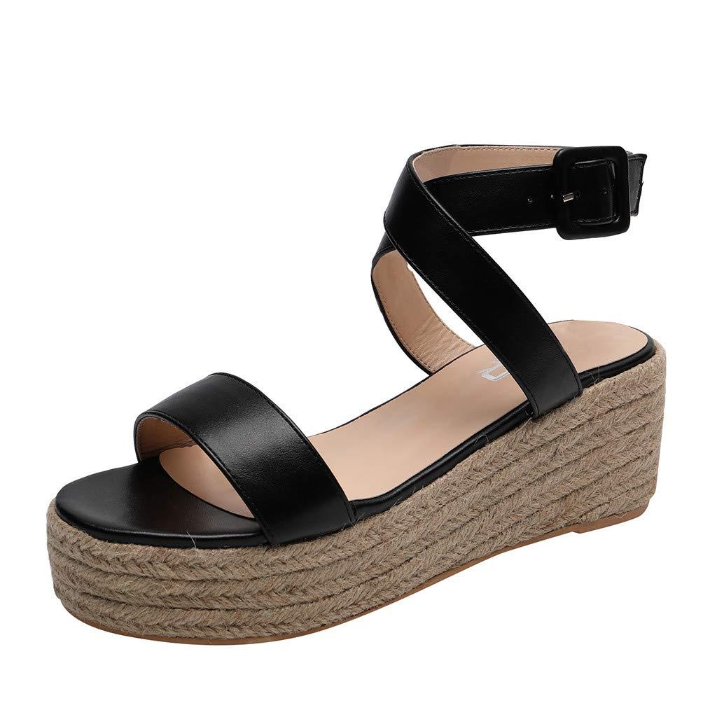 Fastbot Women's Summer Sandals Open Toe Casual Comfort Hemp Rope Waterproof Platform Fashion Simple High Heels Black