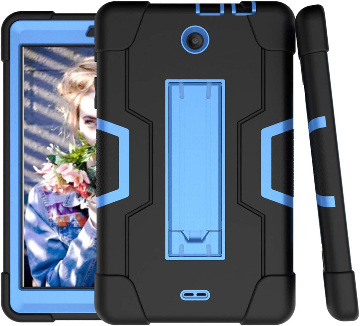 For Alcatel 3T 8.0 2018 Case,Alcatel Joy Tab 8.0 2019 Case,Cherrry Heavy Duty Rugged Hybrid Shockproof Full-Body Protective Case Build in Kickstand With Screen Protector Film/Stylus Pen (Black/Blue)