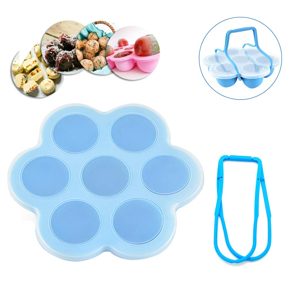 7 Cups Silicone Egg Bites Molds with Lid Handle for 3,5,6,8 Qt Instant Pot Accessories Baby Food Freezer Tray Reusable Storage Container Dishwasher Safety Sunsign Blue