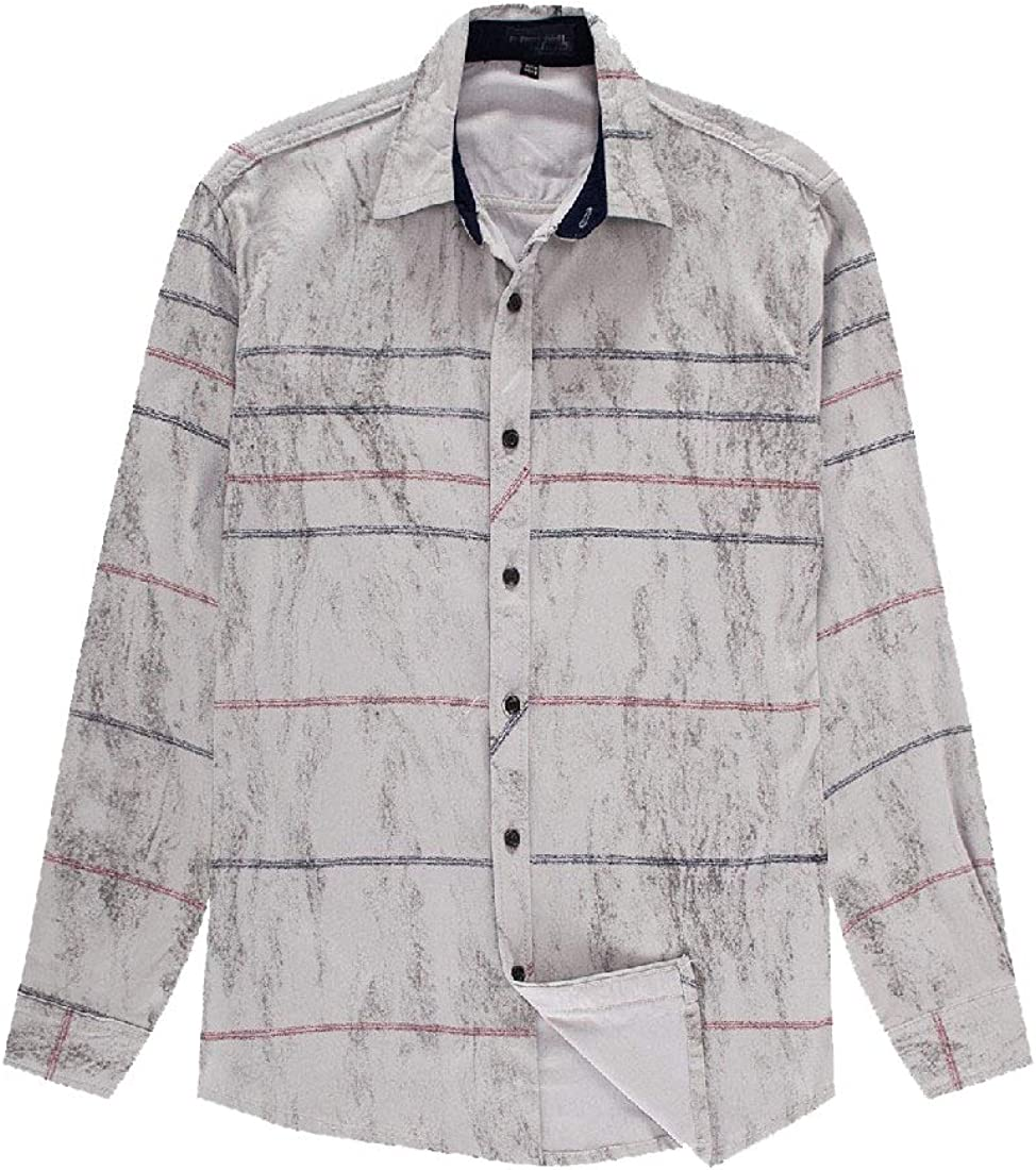 RSunshine Men Quilted Stretch Plus-Size Long Sleeve Striped Cotton Work Shirt