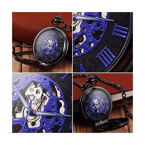 Steampunk Golden Gears Copper Case Skeleton Mechanical Pendant Pocket Watch with Chain/Gift Box 6