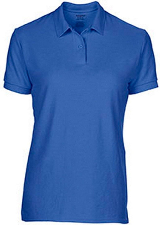 Gildan Women's Moisture Wicking Bottom Hem Pique Polo Shirt, Royal, X-Large