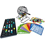 Yuanhe Complete Bingo Game Set-6 Inch Metal Cage with Calling Board, 75 Colored Balls, 300 Colorful Bingo Chips,50 5 Color Mix Bingo Cards for Large Group Games