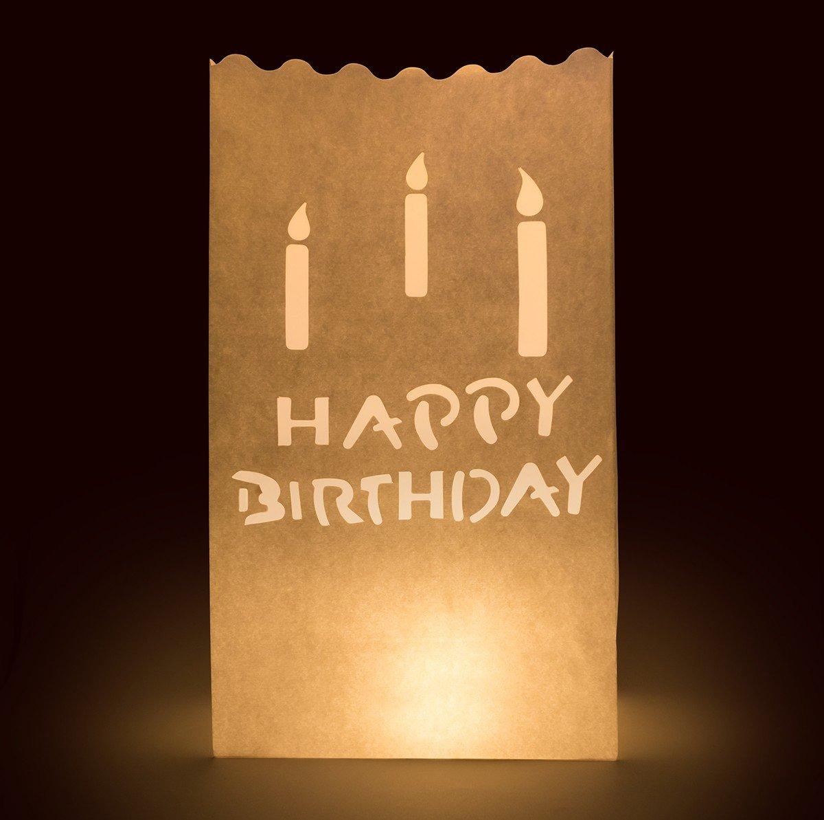 10 x Lichttüten feuerfeste Papiertüten für Teelichter Kerzen (Happy Birthday) Trendario