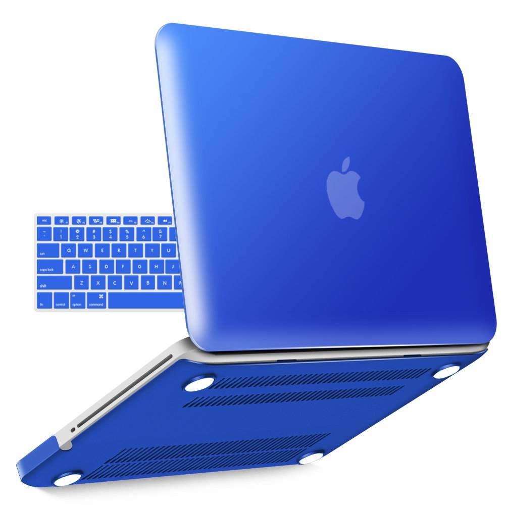 iBenzer Basic Soft-Touch Series Plastic Hard Case & Keyboard Cover Apple MacBook Pro 13-inch 13'' CD-ROM A1278 (Previous Generation) (Royal Blue)