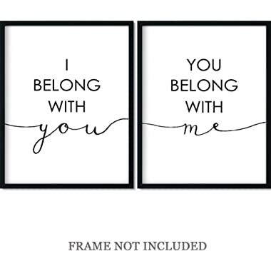 I Belong With You, You belong with me Wall Art Decor Print - Set of 2-11x14 unframed prints