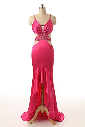 Sarahbridal Women Sexy Party Dresses V Neck Cross Strap Prom Dress Elegant Hi-Lo Formal