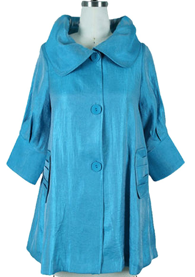 ''The Swing Jacket'' - Fun & Flattering Fashion - Style 200 by Damee NYC-large (sky blue) by Damee