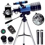 ToyerBee Telescope for Kids&Beginners, 70mm Aperture 300mm Astronomical Refractor Telescope(15X-150X), Portable Travel Telesc