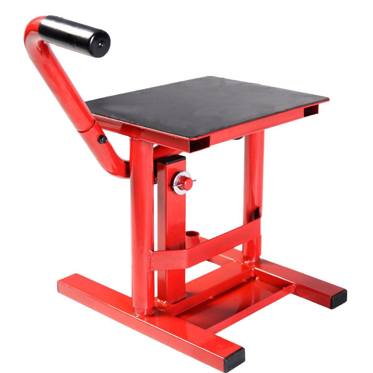 Motorcycle Racing Offroad Motocross Dirt Adjustable Bike Steel Lift Jack Stand (Red)