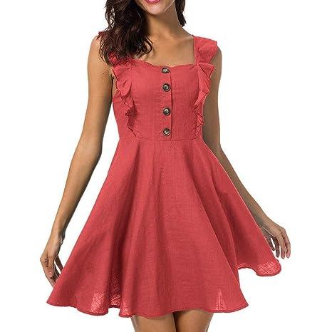 Vestidos Cortos de Fiesta SUNNSEAN Mini Falda Color Liso Elegante ...