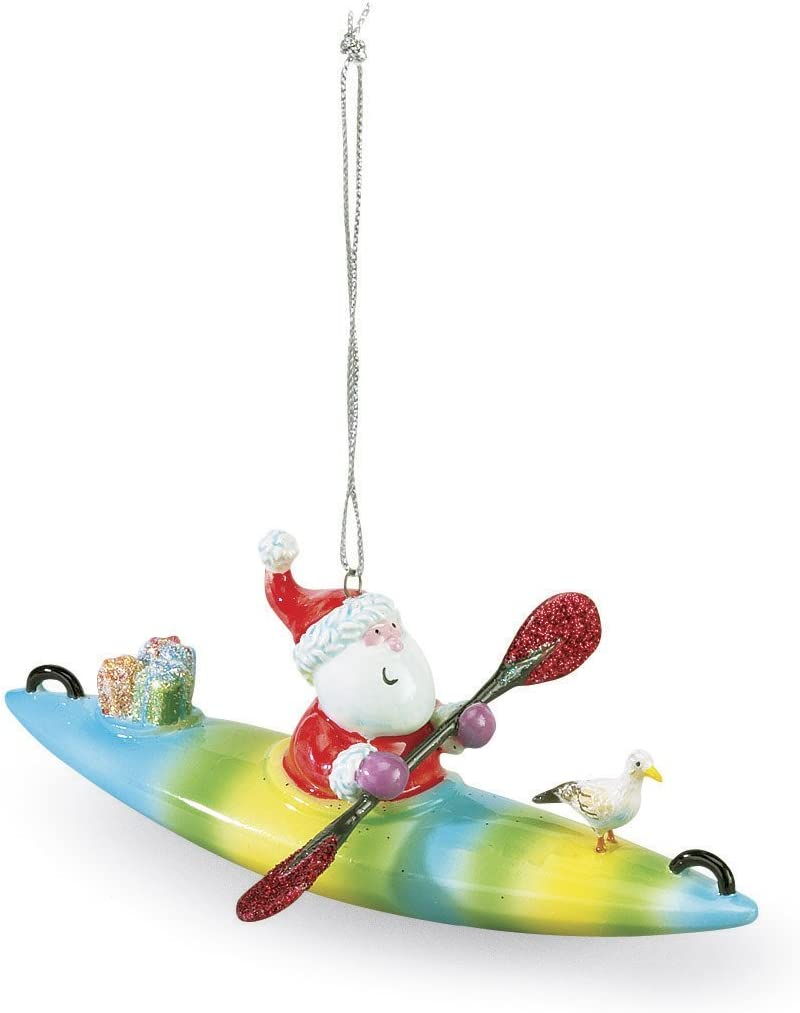 Cape Shore Santa on a Kayak Christmas Ornament