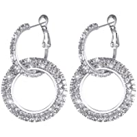 clearance, Platinum Filled sterling silver with Diamond Sparkly Crystal Hoop Earrings for Women One Pairs Earrings (Silver#C)