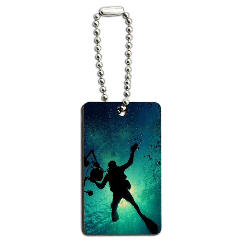 Scuba Diver - Diving Underwater Wood Wooden Rectangle Key Chain