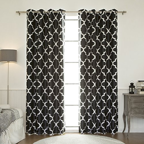 Best Home Fashion Moroccan Faux Silk Blackout Curtain - Stainless Steel Nickel Grommet Top - Black - 52