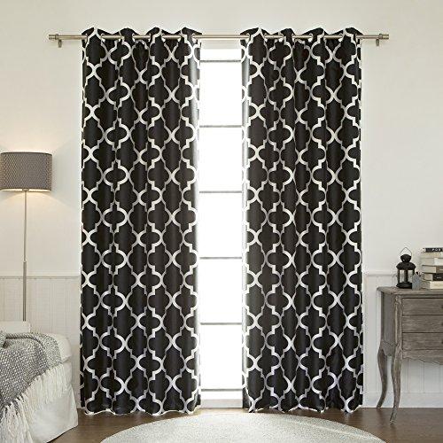 Nickel Black Silk - Best Home Fashion Moroccan Faux Silk Blackout Curtain - Stainless Steel Nickel Grommet Top - Black - 52