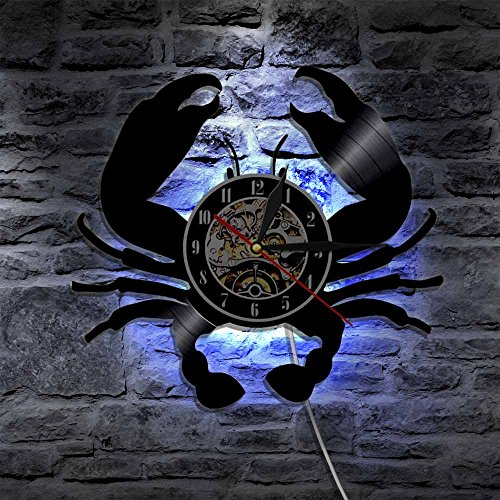 LED Wall Lights, Night Light, Wall Lamp, Crab Theme LED Lighting Wall Light Modern Home Decor Vinyl Record Clock With Color Changing Led Light Remote Controller