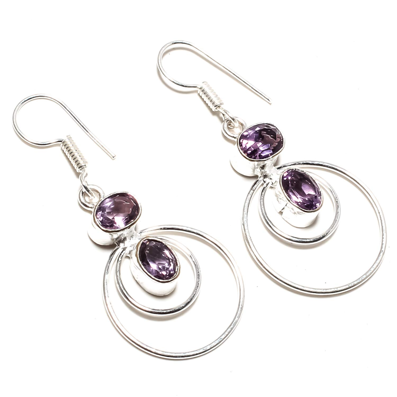 Dangle And Drop Earring African Amethyst Gemstone Earring Handmade 925 Sterling Silver Plated Jewelry SF-2506