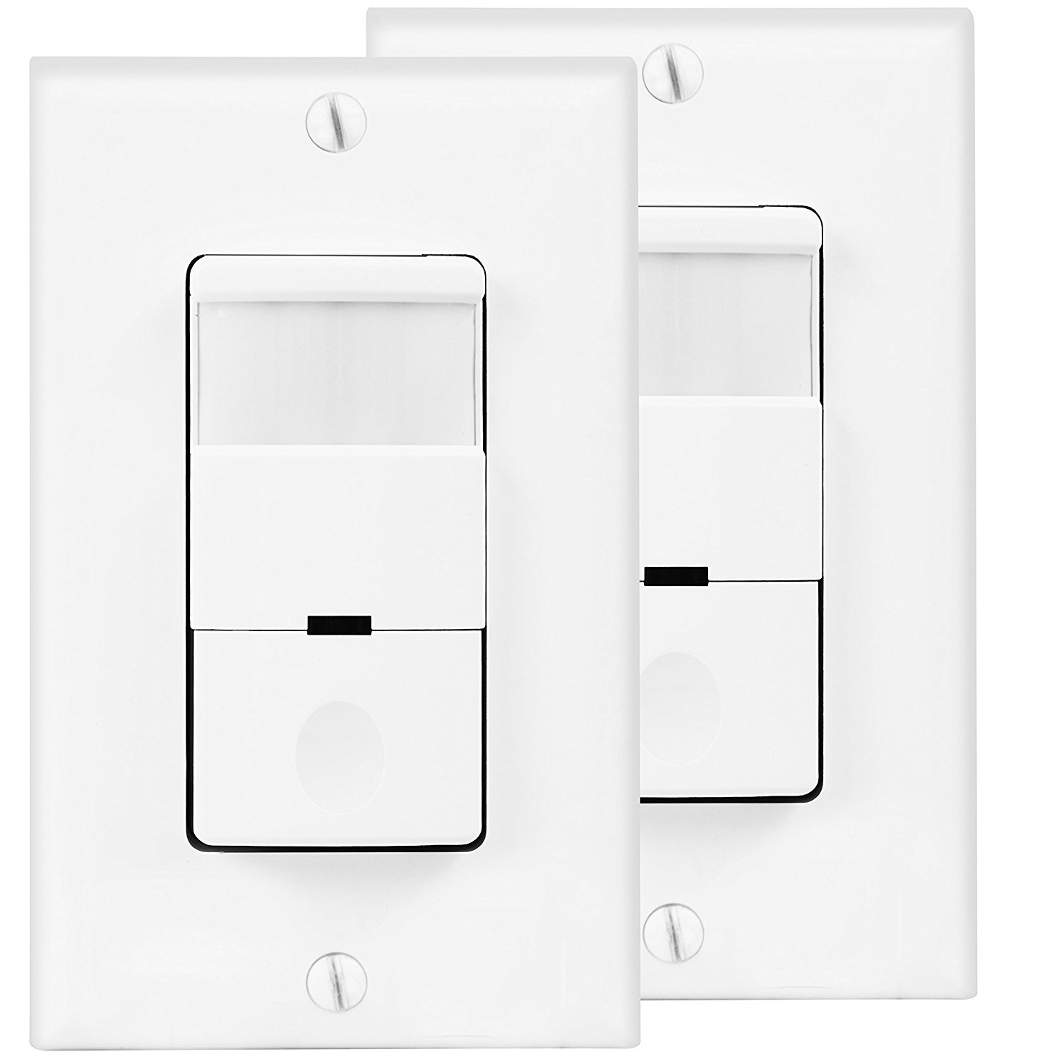 TOPGREENER Motion Detector Light Switch, In Wall Sensor Switch, Occupancy Sensor Switch 500W LED CFL 1/8HP, Wall Plates Included, Neutral Wire Required, TDOS5, White, 2 Pack