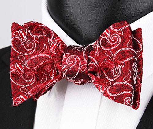e Bowtie farfalla fazzoletto di rosso Alizeal a vino con chiusura Man 5WwXHY
