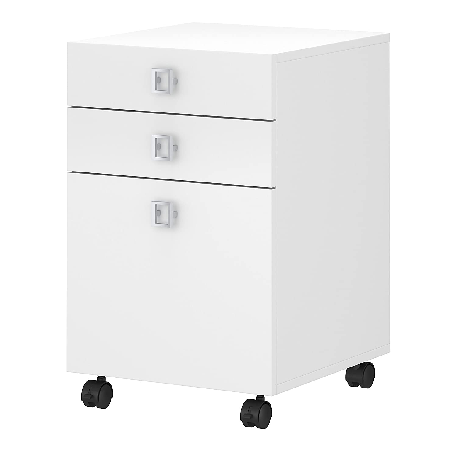 Office by kathy ireland Echo 3 Drawer Mobile File Cabinet in Pure White Bush Industries KI60101-03
