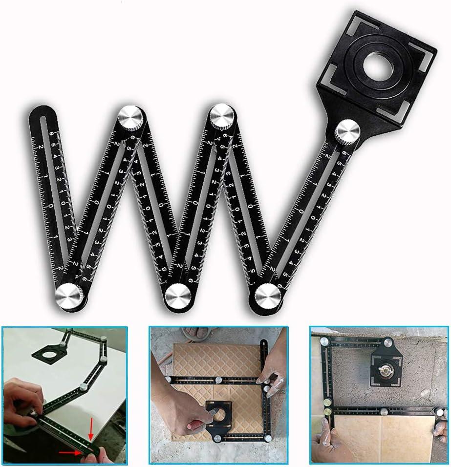 Multi Angle Tool Six-Sided Universal Ruler Tile Hole Measure Aluminum Alloy Ruler - Full Metal Upgraded…