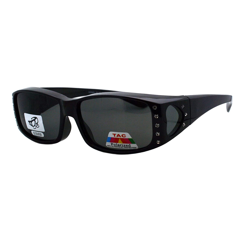 f835cec373376 Amazon.com  Womens Polarized Fit Over Glasses Sunglasses Rhinestone  Rectangular Frame (black