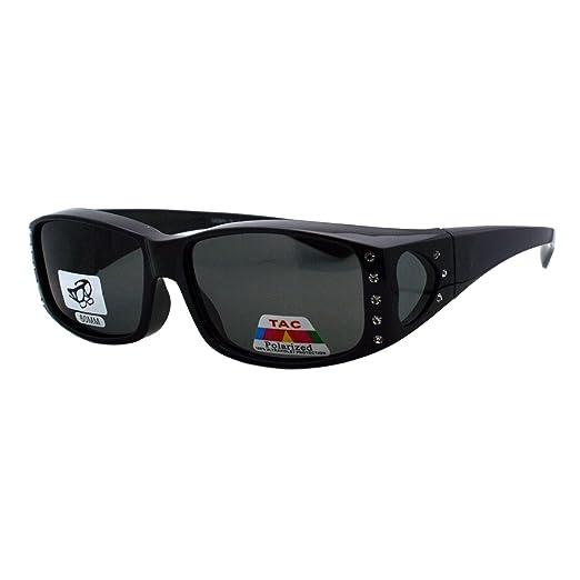 fc9823e14efa1 Womens Polarized Fit Over Glasses Sunglasses Rhinestone Rectangular Frame  (black