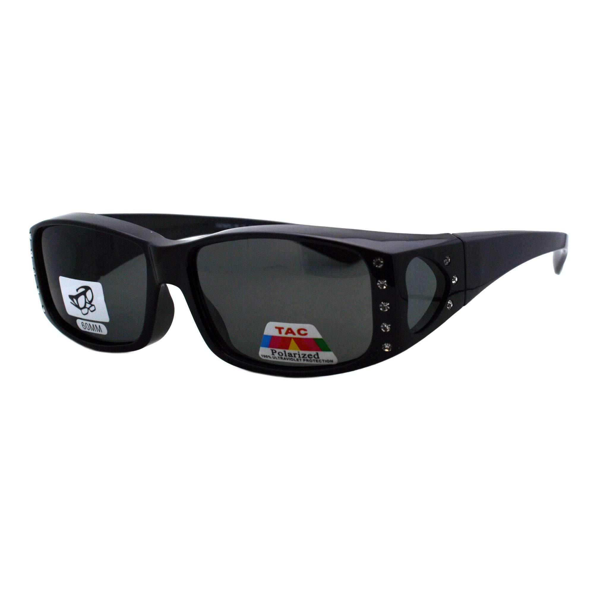 Womens Polarized Fit Over Glasses Sunglasses Rhinestone Rectangular Frame (black, 57)