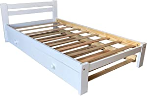 Amazonas White Twin Bed with Trundle Wooden Trundle Bed Twin Size Solid Pine Wood and Hardwood Slats Support Kids Bed Boy Girl Wooden Bedroom Furniture