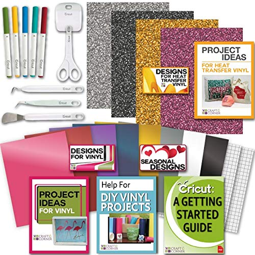 - Cricut Tools Bundle Beginner Cricut Guide, Vinyl Pack, Basic Tools and Cricut Explore Fine Point Pens
