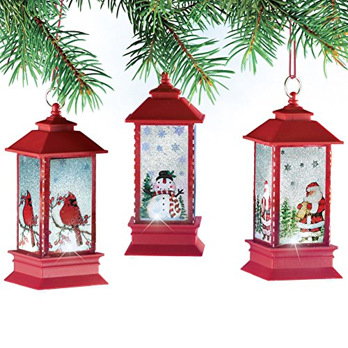 Lighted Red Lanterns Christmas Tree Ornaments - Set Of 3, Red