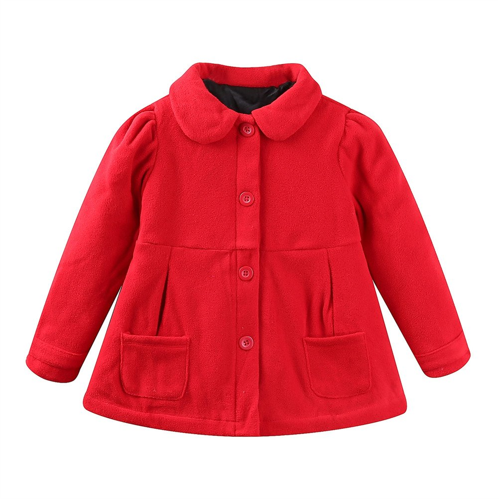 SPRMAG Baby Girls Wool Dress Coat Bowknot Trench Overcoat Made in China