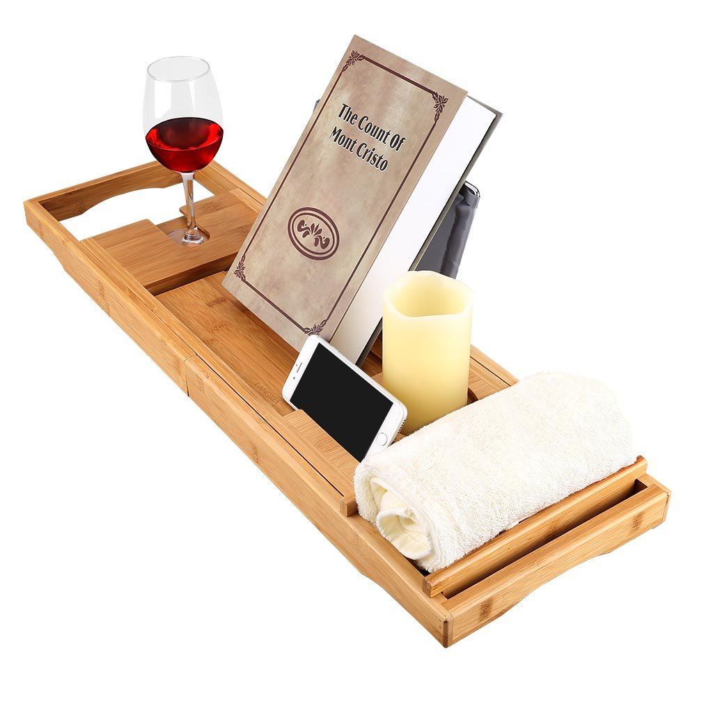 LANGRIA Bamboo Bathtub Caddy Tray with Extending Sides Mug/Wineglass/Smartphone Holder, Metal Frame Book/Pad/Tablet Holder with Waterproof Cloth Detachable Sliding Tray Non-Slip Rubber Base