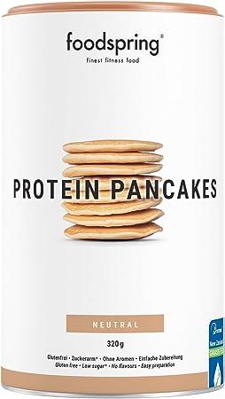 foodspring Tortitas Proteicas, 320g, Mezcla para cocinar, baja en azúcar, muy alta en proteínas, tortitas esponjosas en 5 minutos, sabor y textura ...