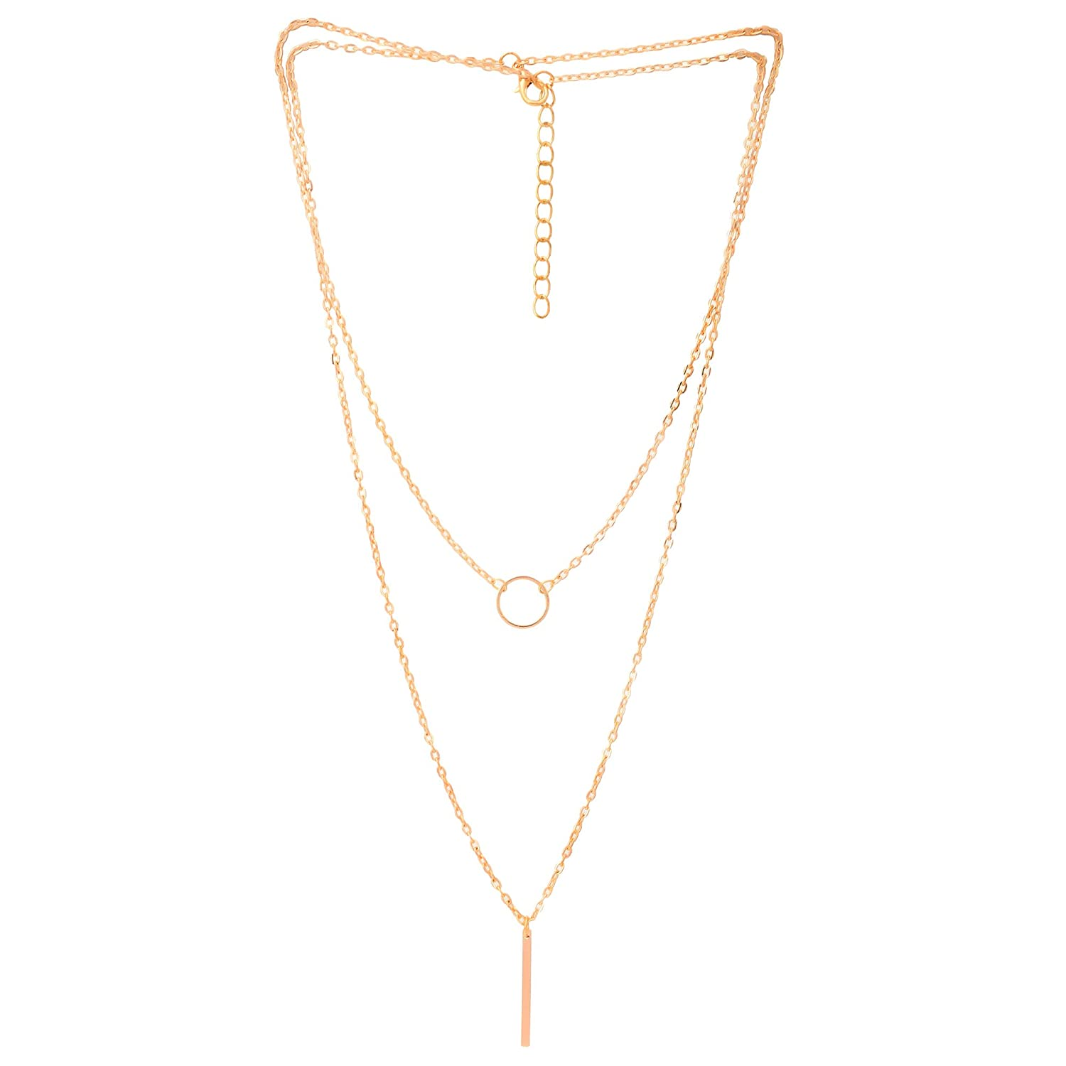 Buy aaishwarya golden layered drop bar pendant necklacechain for buy aaishwarya golden layered drop bar pendant necklacechain for women girls online at low prices in india amazon jewellery store amazon mozeypictures Gallery