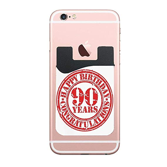 90th Birthday DecorationsAged Dated Red Stamp With Ninety Years Grunge Look CongratulationRed