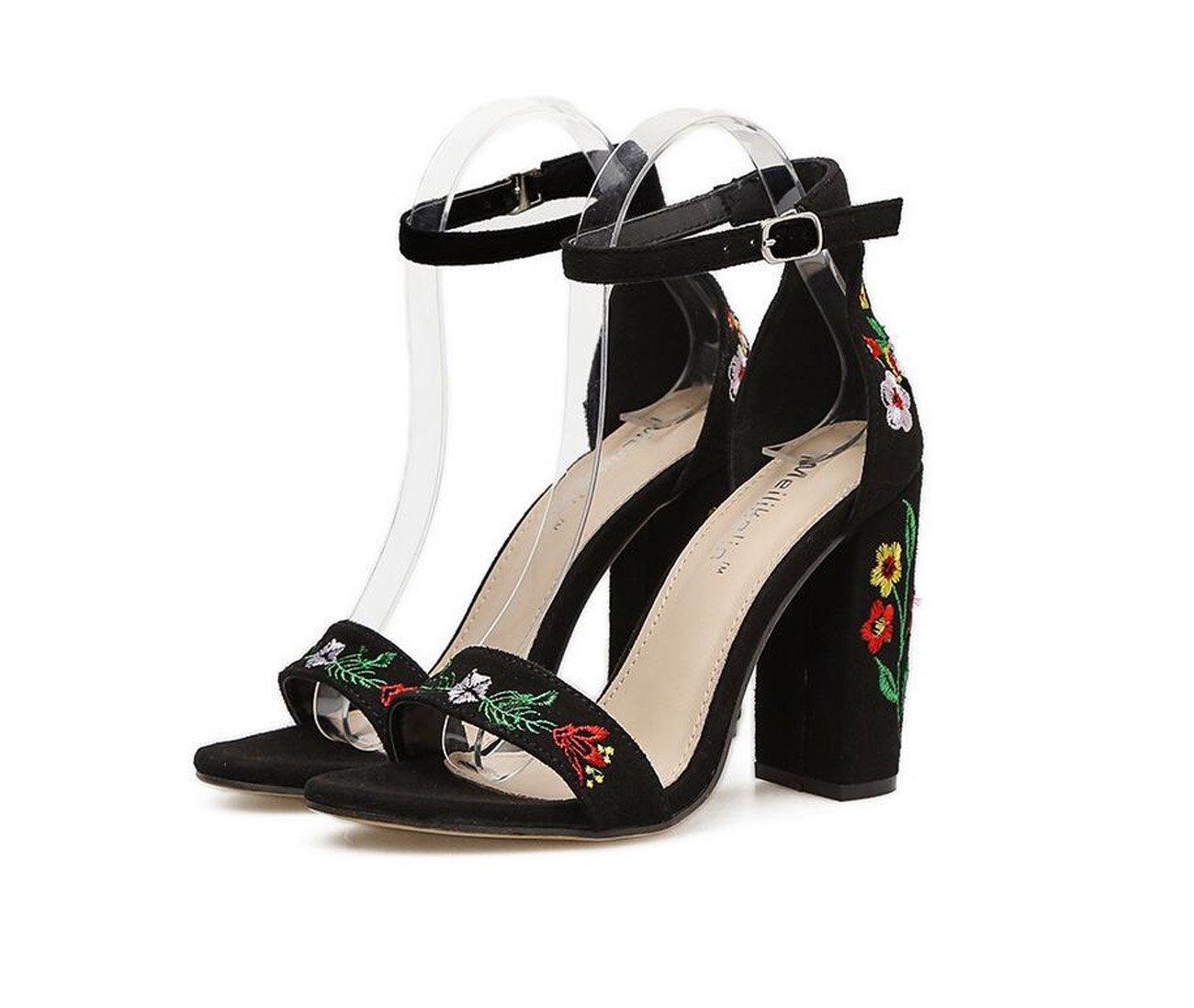Damen High Heels Sandalen Bestickte Ferse Sexy Schuhe ( Sommer Bequeme Einkaufen Schuhe ( Schuhe Farbe : schwarz , Größe : 40 ) schwarz 27ba8f