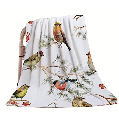 "HGOD DESIGNS Bird Throw Blanket,Vintage Watercolor Forest Birds Painting Design Soft Warm Decorative Throw Blankets for Adults Kids Women Men Girls Boys,40""X50"": Home & Kitchen"