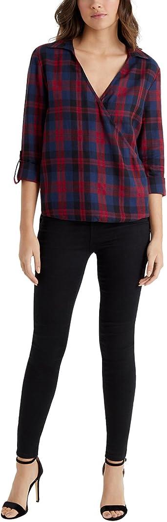 Lipsy Mujer Camisa Cruzada con Diseño A Cuadros Rojo EU 46 ...