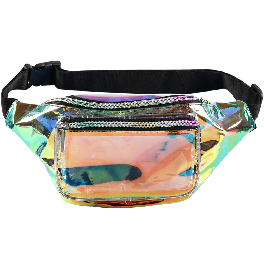 Fotociti Holographic Fanny Pack- Fashion Rave Waist Bag with Adjustable Belt for Women and Men (Iridescent) by Fotociti