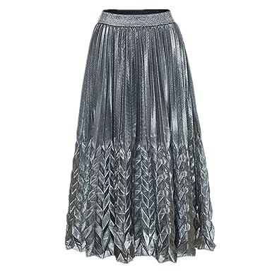 KAYLEY Falda Mujer Falda de Cola de Pescado Elástica Plisada ...