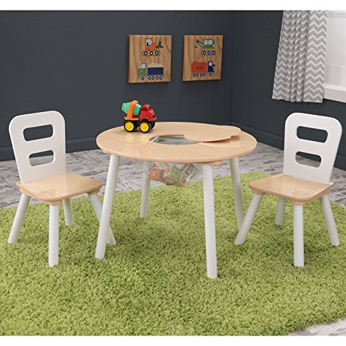 KidKraft Round Table & 2 Chair Set; Natural & White – 27027
