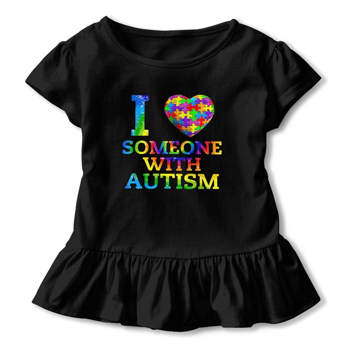I Love Someone with Autism Toddler Baby Girls Short Sleeve Ruffle T-Shirt