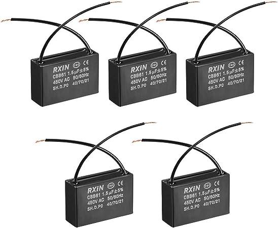 N//A CBB61 Condensador 450 V AC 2,5 uF 2 cable condensadores pel/ícula polipropileno metalizado para ventilador de techo