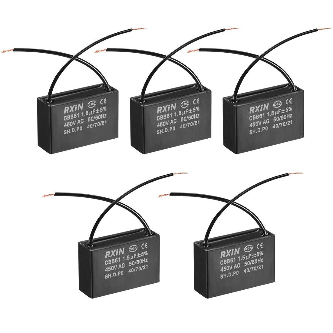 sourcing map Condensador De Funcionamiento CBB61 0.8Uf 450V AC 2 Cable De Pel/ícula De Polipropileno Metalizado Condensadores para Ventilador De Techo 10Pcs