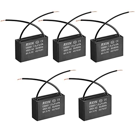 amazon com uxcell cbb61 run capacitor 450v ac 1 5uf 2 wires Power Capacitor Wiring